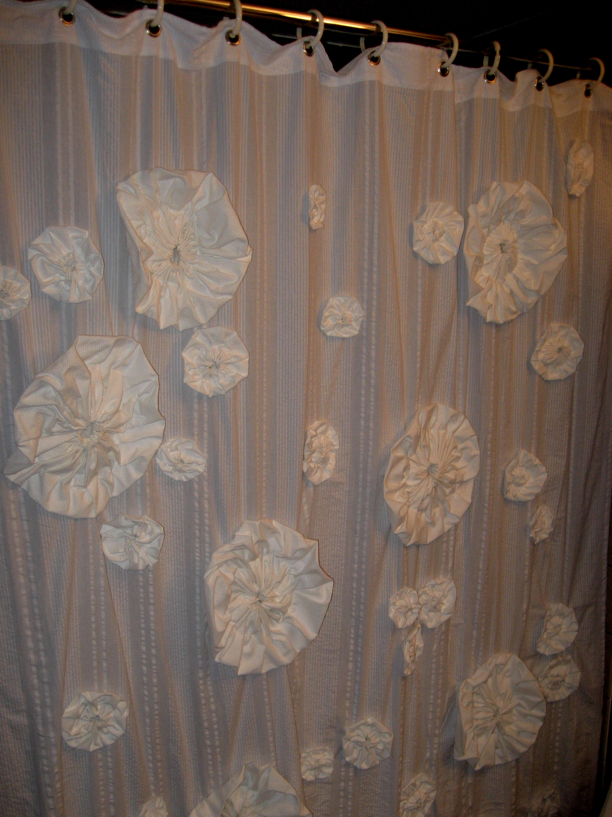 DIY Shower Curtain with Flower Poufs | Erin Ellacott